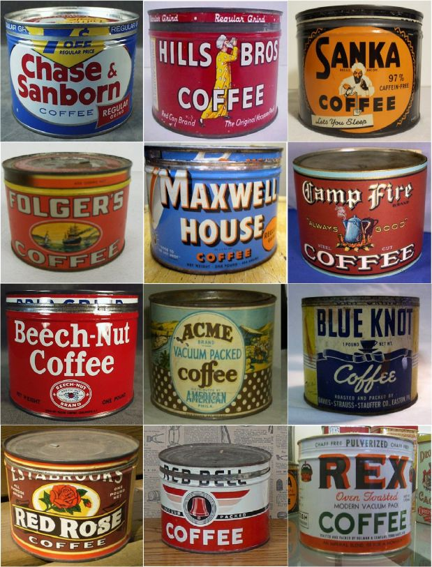 Old antique coffee cans and tins magnets 12pk cool - What are coffee cans made of ...