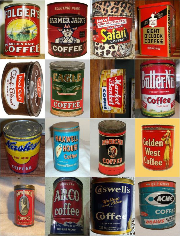 Vintage coffee cans tins photo magnets collectible 16pk ebay - What are coffee cans made of ...